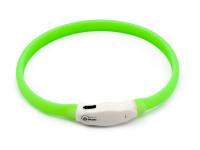 LED svítící vodotěsný silikonový obojek s USB nabíjením zelený, Domestico
