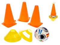 Futbalové kužele 4 ks + méty 4 ks s loptou