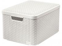 box úložný RATTAN 44,5x33x25cm (L) s vekom, STYLE2, plastový, KRÉM