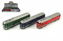 Vlak/Lokomotiva plast 23cm na setrvačník na baterie se zvukem se světlem - mix barev