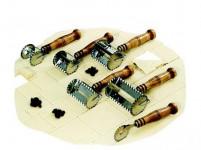 radielkom 3cm pásky nerez + drevená rukoväť