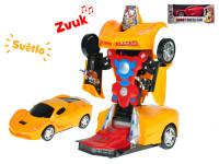 Auto robot 22 cm narážacie na batérie so svetlom a zvukom - mix farieb
