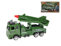 Vojenské vozidlo s raketou 18 cm na setrvačník