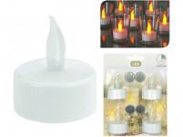sviečka čajová LED pr.3,5cm Bi (4ks) s batériami, časovačom