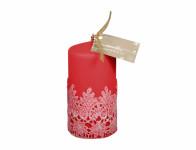 Sviečka KRAJKA VELUR VALEC vianočné matná d7x14cm