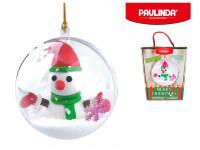 Tvořivá hmota/modelína Paulinda Merry Christmas 2x14g baňka se sněhulákem a doplňky