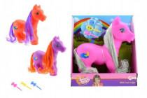 Kôň pony česacia s hrivou as hrebienkom guma / plast 22cm - mix farieb