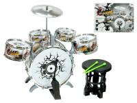 Sada bicích - 5 ks bubnov, činel, paličky a stolička