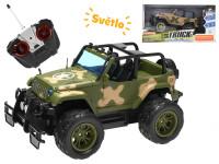 R/C auto vojenské terénní 26 cm 27 MHz plná funkce na baterie se světlem - mix barev
