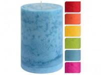 sviečka pr.10x15cm, zasnežený dekor - mix farieb