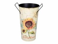 Váza SLNEČNICA s ušami vysoká plechová d16x29cm