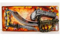Sada pirátská meč + nůž + pistole 3ks plast na kartě 43x19cm