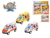 Auto Ambulancia 8cm kov na spätné natiahnutie - mix farieb