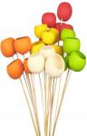 Dekorácie - Bell cup 4-5 cm na tyčke - jablkovo zelený 4 ks