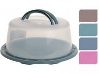 podnos s krytom guľatý 34cm v.15cm plastový - mix farieb