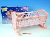 Kolíska pre bábiky bez súpravy plast- mix farieb