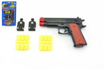 Pistole špuntovka plast 16cm na plastové náboje s terčem