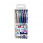 Metal gélové pero - mix farieb - 6ks / sada - VÝPREDAJ