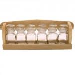 polička dřevěná s kořenkami 150ml skl. (6ks)