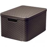 box úložný RATTAN 44,5x33x25cm (L) s víkem, STYLE2, plastový, HN