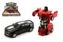 Auto robot/transformer plast 12cm na setrvačník - mix barev
