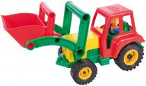 Auto traktor / nakladač s figúrkou aktívnou sa lyžicou plast 35cm 24m +