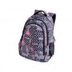 Batoh studentský tříkomorový šedo-růžový LOVE 26 l