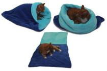 Spací vak 3v1 XL pre mačky č.4 modrá / tyrkysová