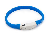 LED svítící vodotěsný silikonový obojek s USB nabíjením modrý, Domestico