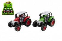 Traktor plast / kov 14cm na spätné natiahnutie - mix farieb