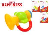 Hrkálka trumpeta 9 cm Baby \ 's Happiness - mix farieb