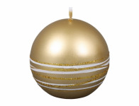 Sviečka SATURN GUĽA vianočné metalická lesklá d6cm