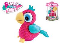 Papoušek Penny opakující slova 18cm plyš na baterie se zvukem v kleci