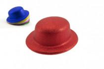 Klobouk/ buřinka se třpytkami plast 11cm karneval - mix barev