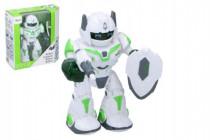 Robot chodiaci a otáčacia s doplnkami 20cm na batérie so zvukom a svetlom
