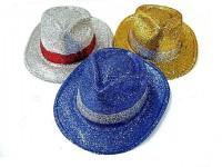 Klobúk party s pruhom sa trblietkami plast 30cm karneval - mix farieb