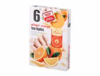 Sviečka čajová ZÁZVOR s pomarančmi vonná 6ks