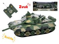 R / C tank 26 cm 1:28 40 MHz zeleno-hnedý na batéria plná funkcie 10 kanálov so svetlom a zvukom