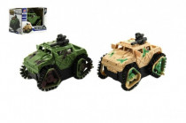 Auto vojenské Prevracací plast 8cm na batérie - mix farieb