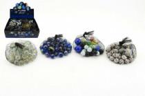 Guličky sklenené cvrnkací rôznej veľkosti 38 + 2 ks v sieťke 7x7cm - mix variantov či farieb
