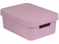 box úložný INFINITY 36,3x27x13,8cm s víkem, plastový, RŮŽ