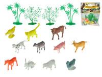 Zvieratká farma 4-6 cm + 4 stromčeky 16 ks - mix variantov či farieb