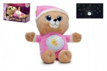 Medvedík Uspávačik ružový plyš 32cm na batérie so svetlom a zvukom v boxe 12m +