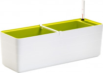 Plastia truhlík samozavlažovací Berberis - biela + zelená 60 cm