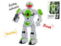 Robot česky hovoriaci 32 cm chodiaci na batérie so svetlom a zvukom