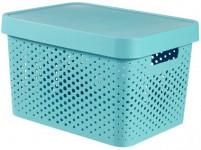 box úložný INFINITY dierovaný 36,3x27x22,2cm s vekom, plastový, MO
