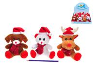 Zvířátka plyšová 13 cm sedící na baterie s vánoční hudbou s čepicí a šálou - mix variant či barev