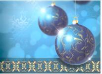 Dárková taška DXA vánoční modrá - ozdoby - VÝPREDAJ