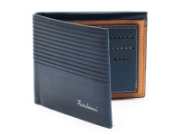 Luxusní tenká pánská peněženka s kresbou dřeva, eko kůže, modrá