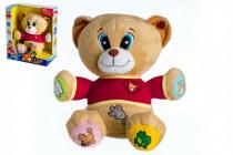 Medveď Tedík česky hovoriaci plyš 30cm na batérie 25x30cm v krabici 12m +